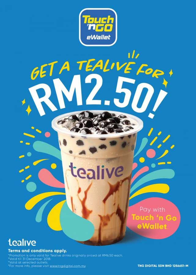 Tealive for RM2.50 with Touch n Go eWallet